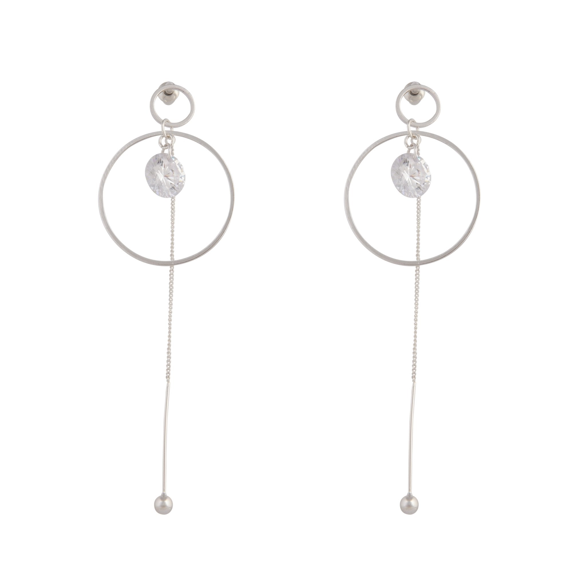 Silver Cubic Zirconia Circle Chain Earring