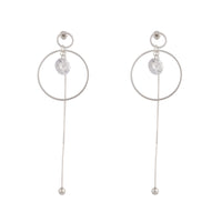Silver Cubic Zirconia Circle Chain Earring - link has visual effect only