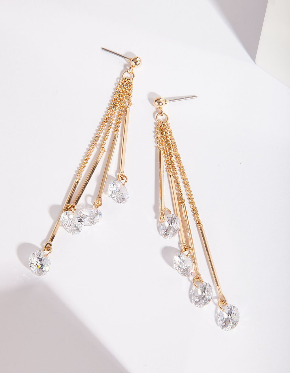 Gold Cubic Zirconia Chain Drop Earring
