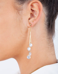 Gold Cubic Zirconia Chain Drop Earring - link has visual effect only