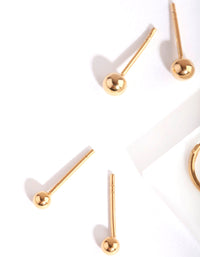 Gold Plated Sterling Silver Mini Studs & Hoop Earring Pack - link has visual effect only