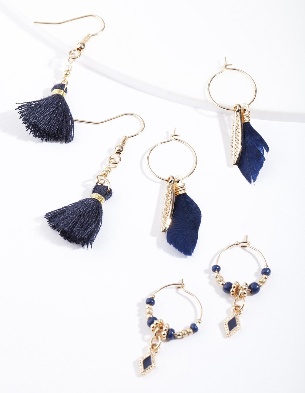 Gold Mini Feather Earring 3 Pack