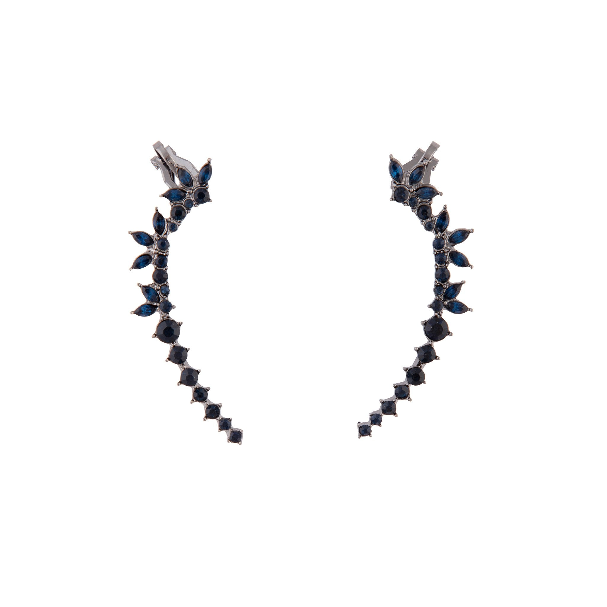 Gunmetal Double Diamante Cuff Earring