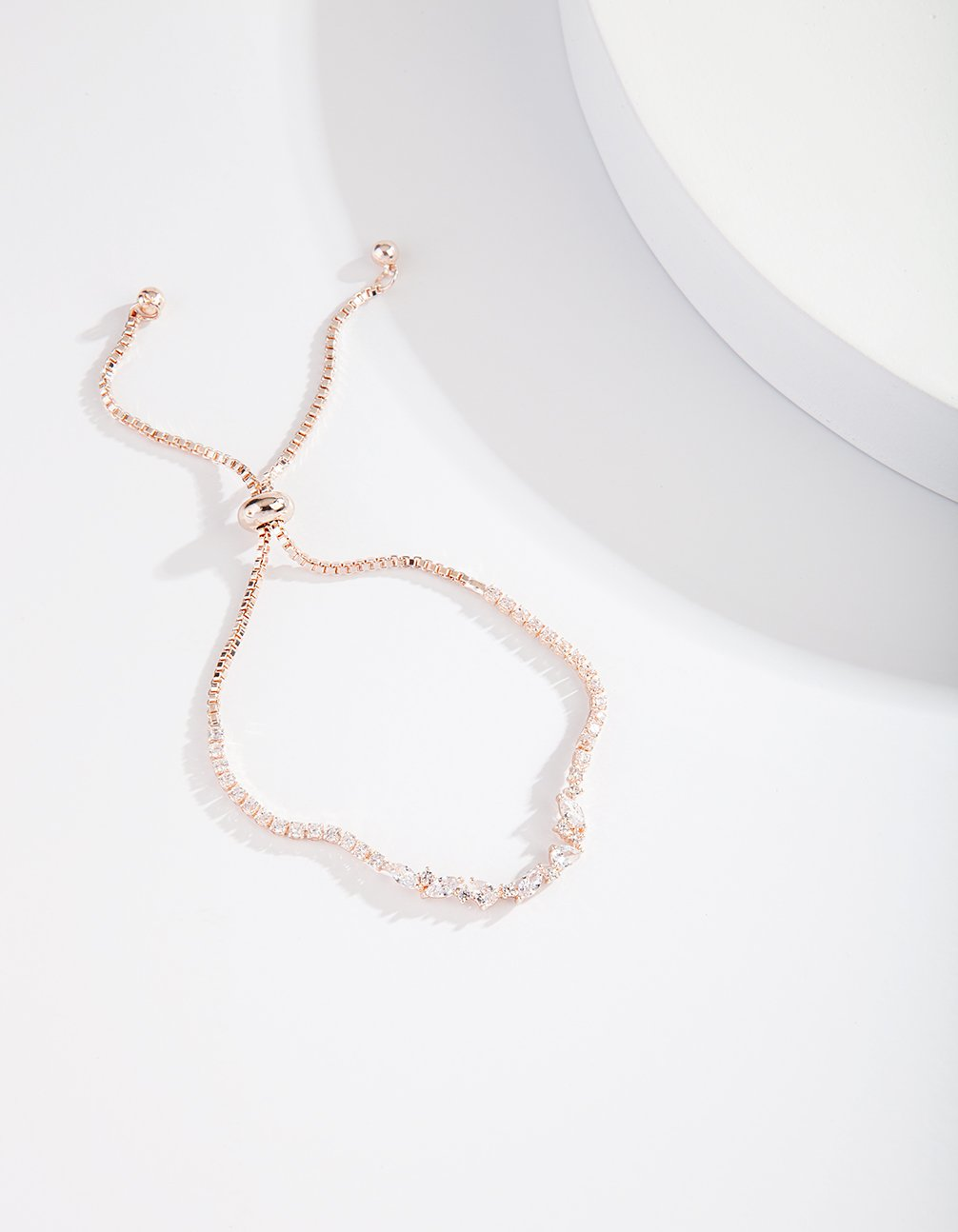 Rose Gold Cubic Zirconia Wave Chain Bracelet