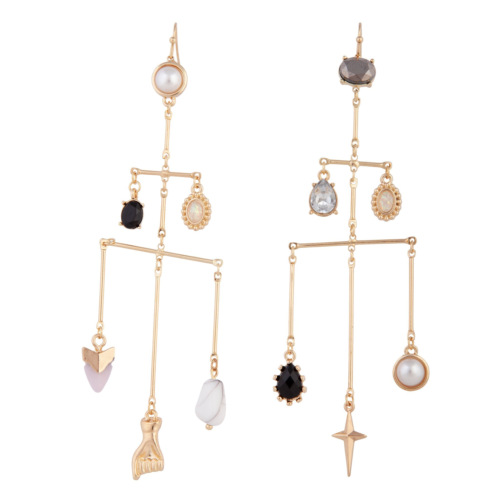 Mobile Multi Charm Gold Earring