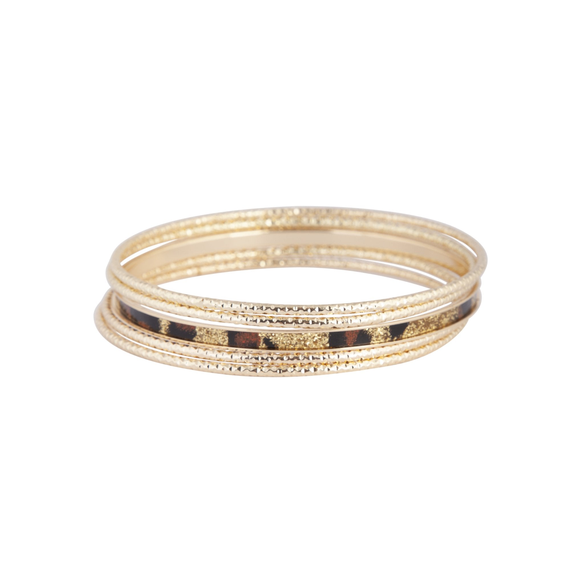 Gold Leopard Print Diamond Cut Bangle Set