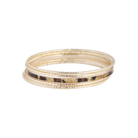 Gold Leopard Print Diamond Cut Bangle Set - link has visual effect only