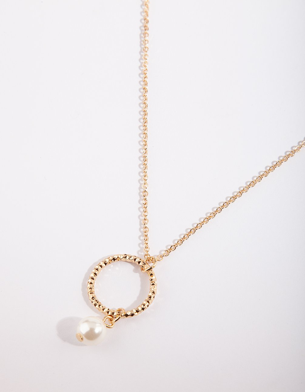 Gold Pearl Circle Necklace