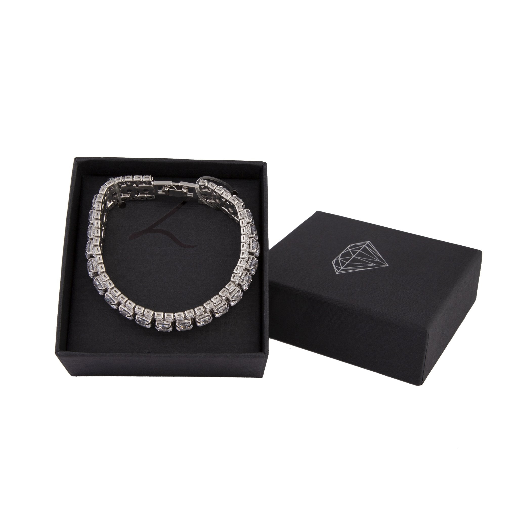 Silver Diamond Simulant Crystal Cup Chain Bracelet
