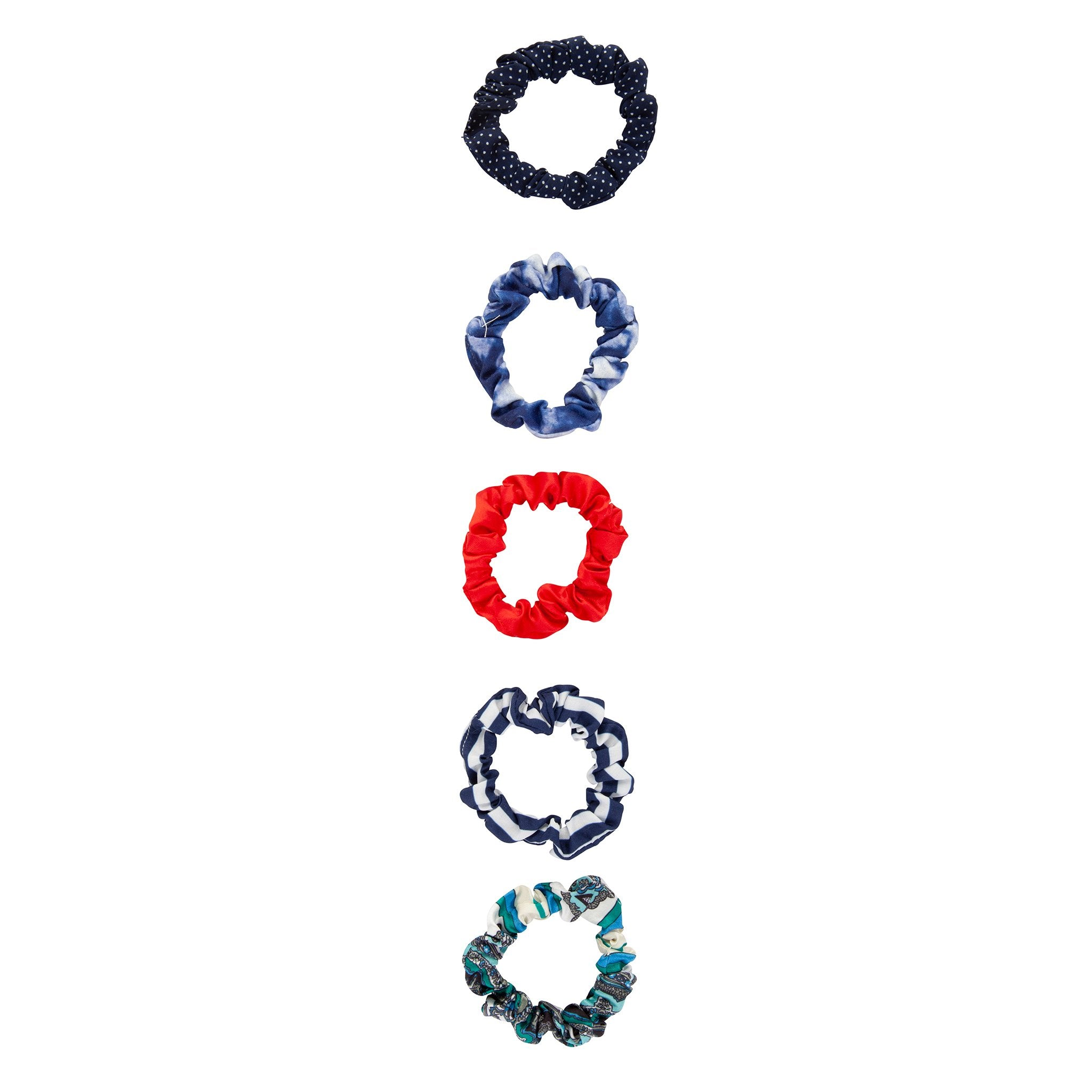 Blue Red Pattern Mini Scrunchie Pack