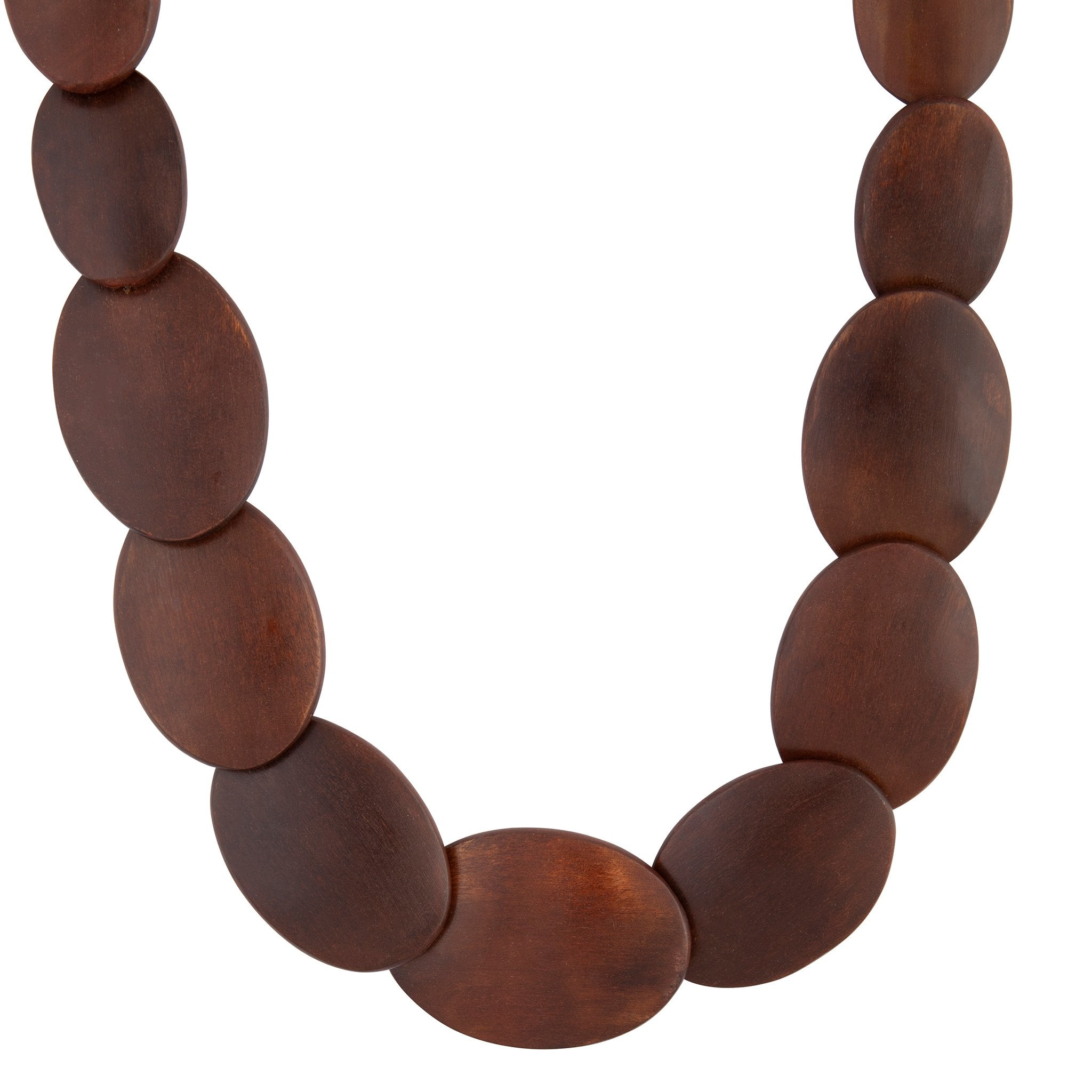 Brown Polished Long Wood Necklace