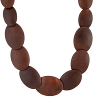 Brown Polished Long Wood Necklace - link has visual effect only