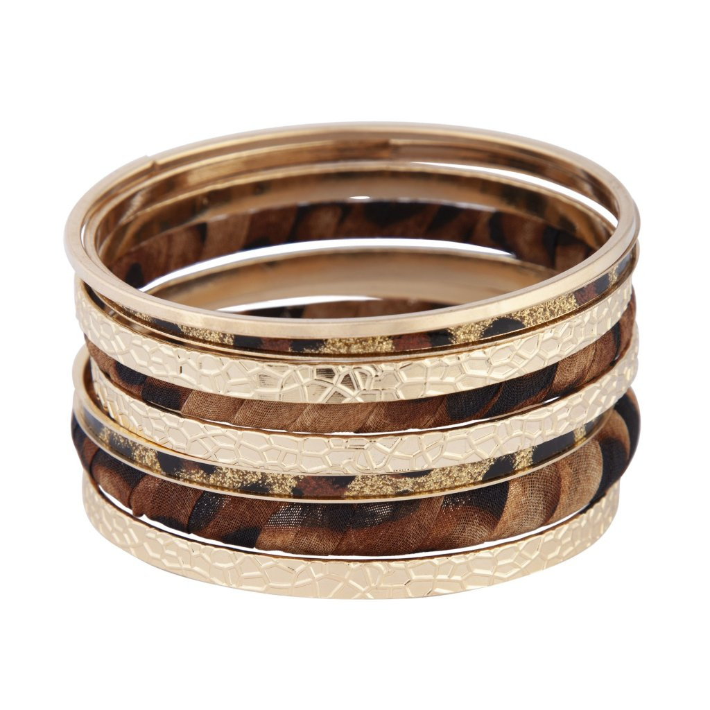 Gold Textured Leopard Fabric Bangle