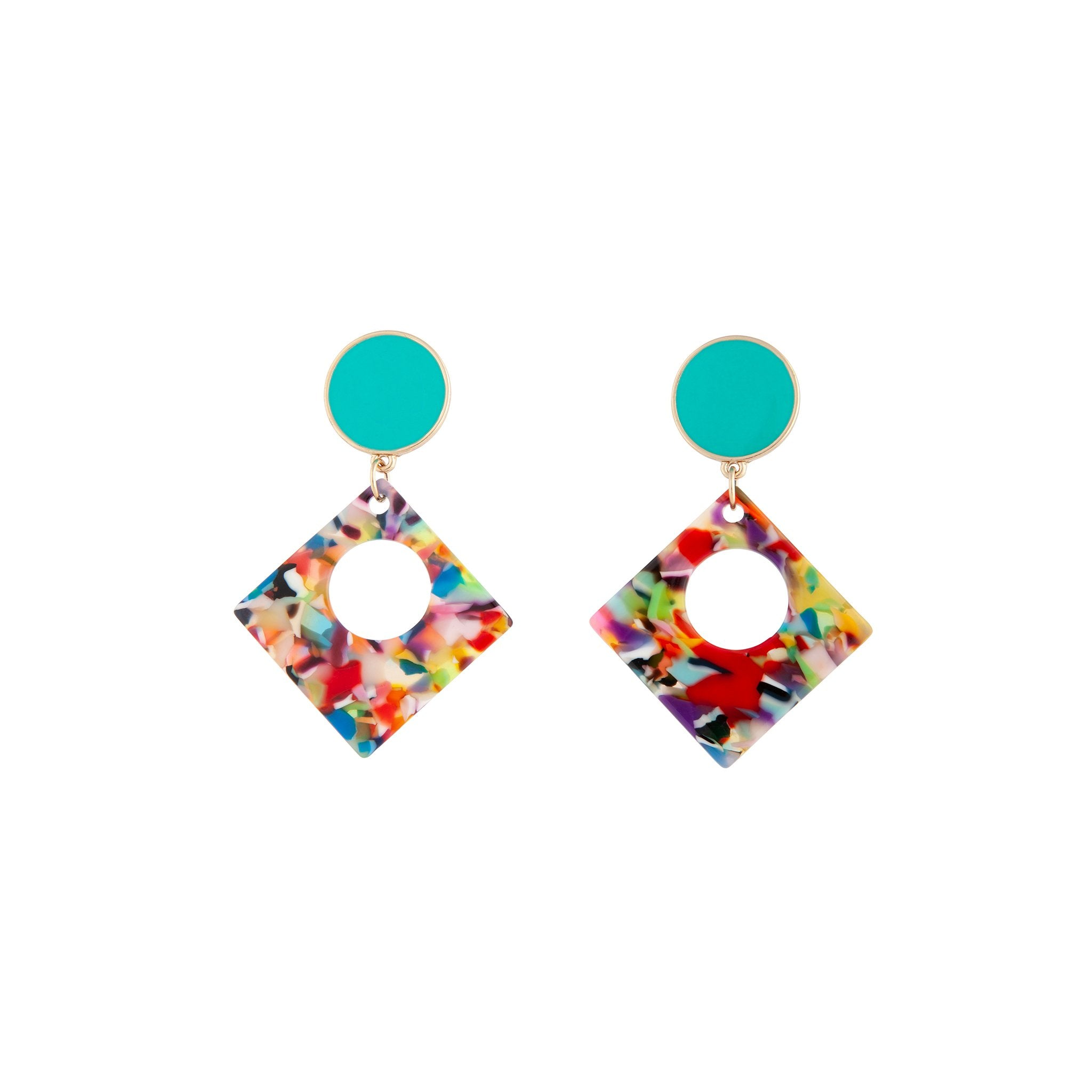 Rainbow Acrylic Blue Stud Earring