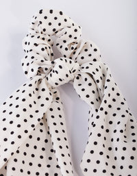 White Polka Dot Scarf Scrunchie - link has visual effect only