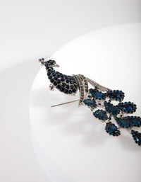 Blue Diamante Rhodium Peacock Brooch - link has visual effect only