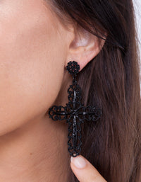 Black Filigree Cross Earring - link has visual effect only