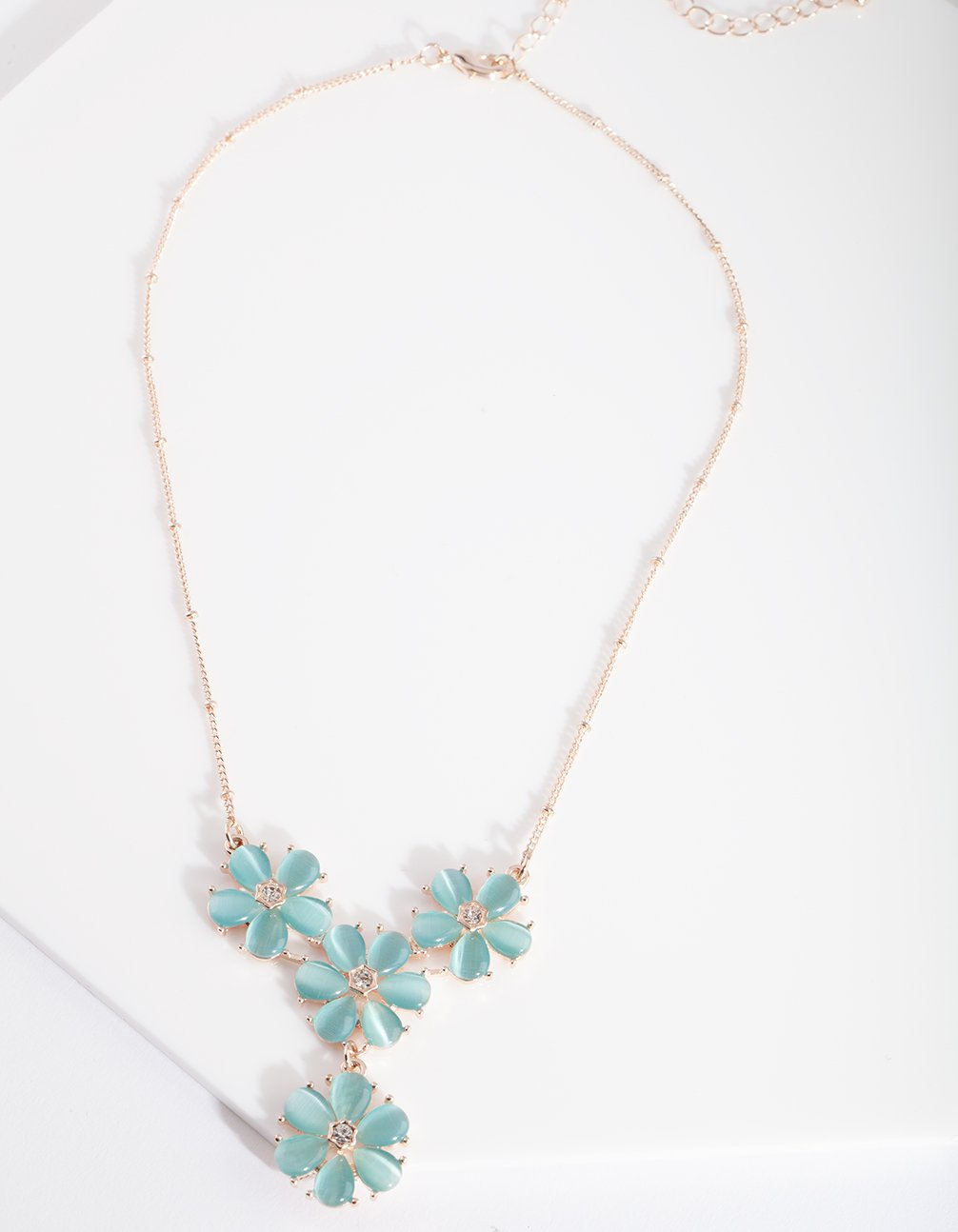 Blue Gem Flower Necklace