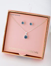 Silver Blue Gem Necklace Earring Gift Box