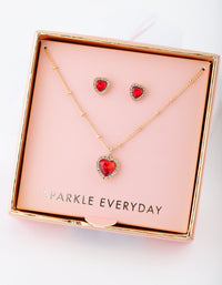 Gold Red Heart Necklace Earring Gift Box