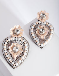 Pink Beaded Sequin Floral Earring - link has visual effect only