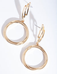 Gold Wrapped Circle Drop Earring