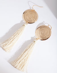 Gold Etched Disc Tassel Earring