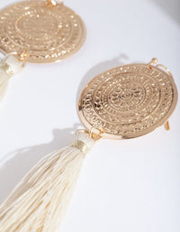 Gold Etched Disc Tassel Earring - link has visual effect only