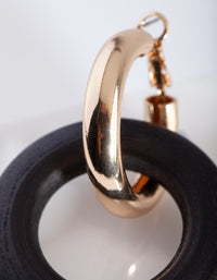 Gold Black Huggie Hoop Drop Earring