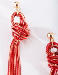 Red and Gold Metal Tassel Earrings