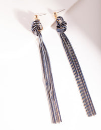 Gold and Dark Blue Metal Tassel Earrings