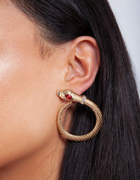 Gold Red Gem Snake Earring - link has visual effect only