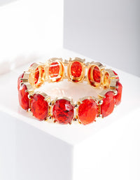 Red Gold Foil Stretch Bangle
