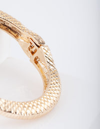 Gold Textured Snake Clamp Bangle - link has visual effect only