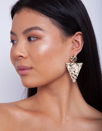 Gold Triangle Drop Textured Earring - link has visual effect only