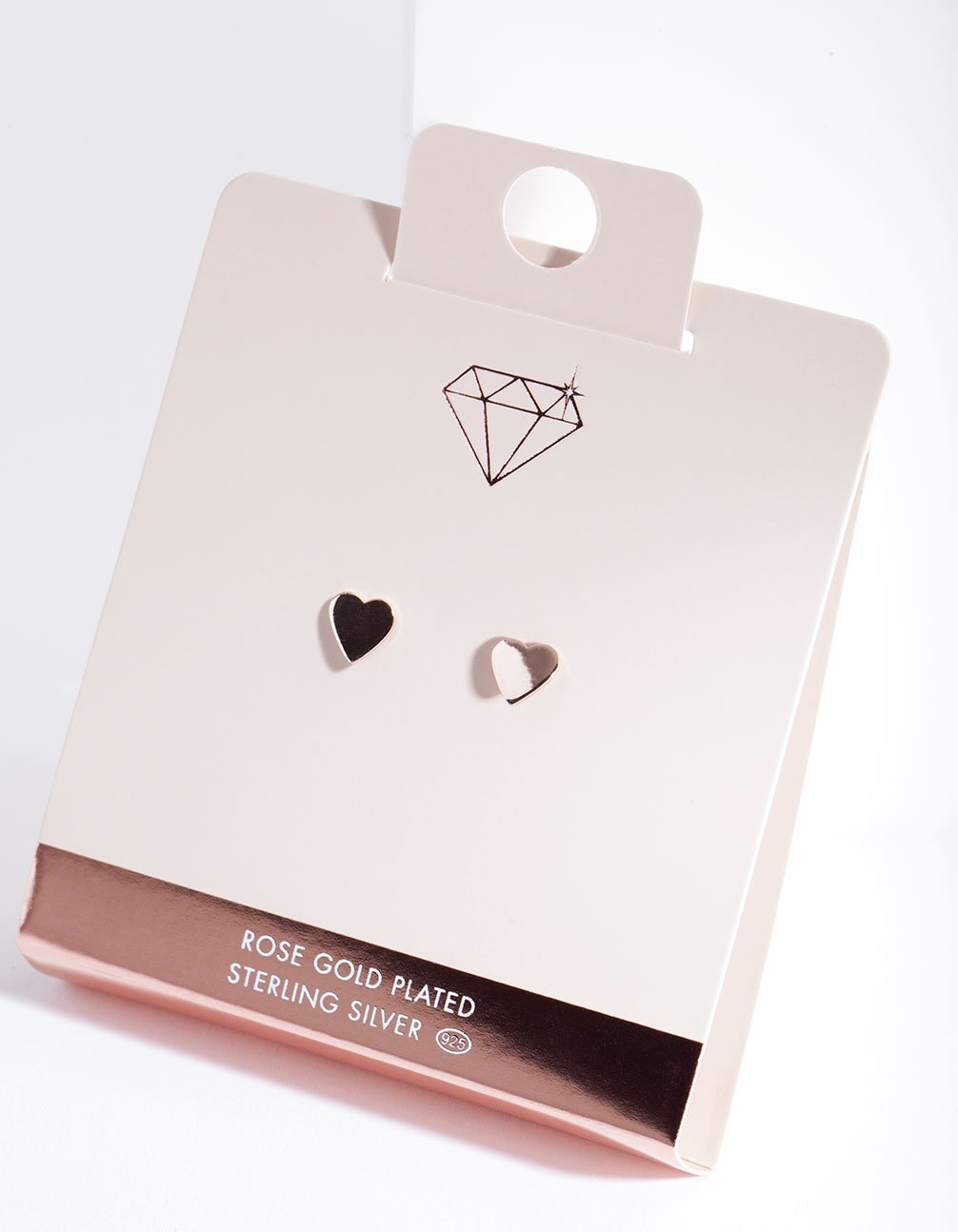 Rose Gold Plated Solid Heart Stud