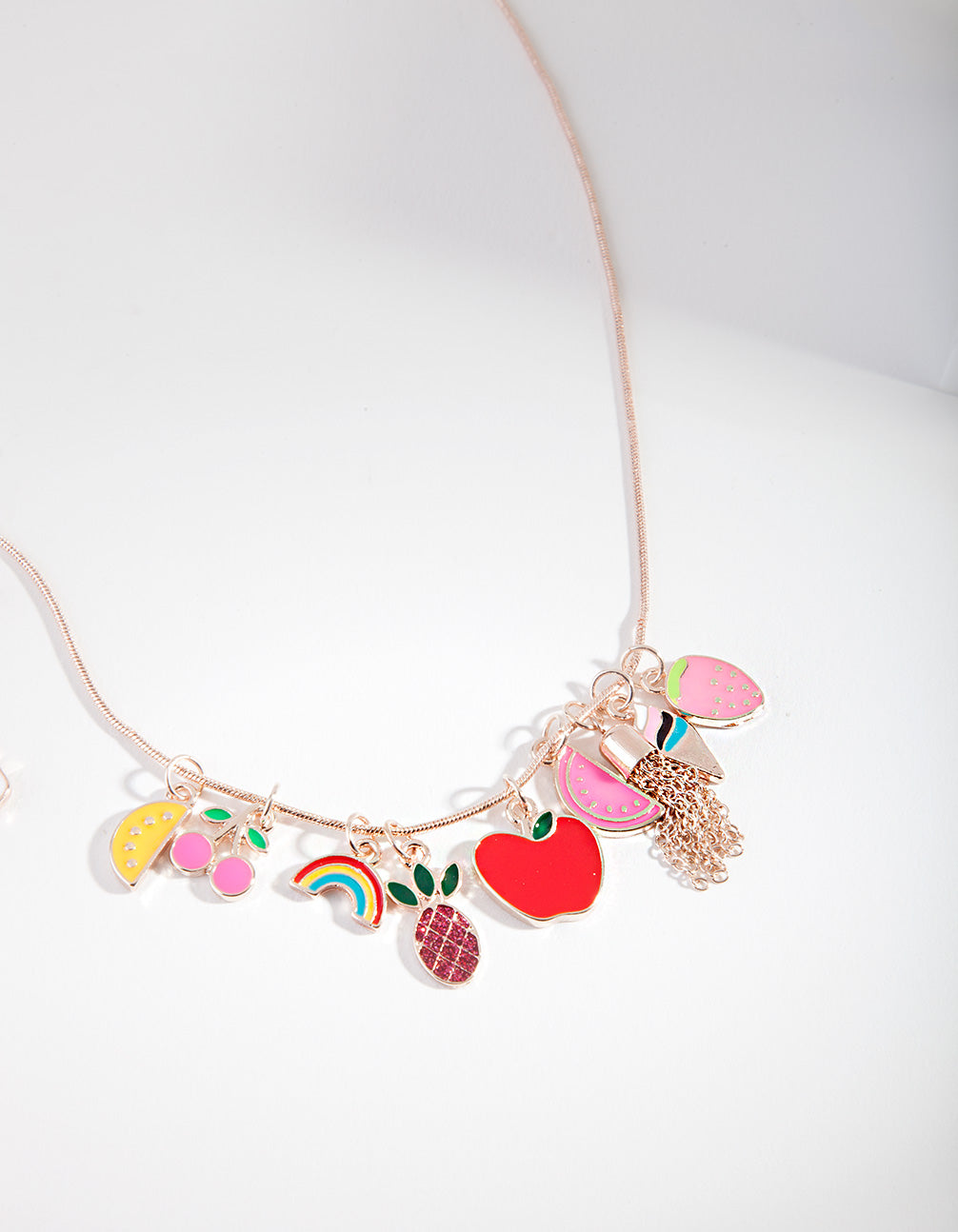 Kids Rose Gold Fruit Necklace