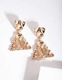 Gold Triangle Textured Gold Earring - link has visual effect only