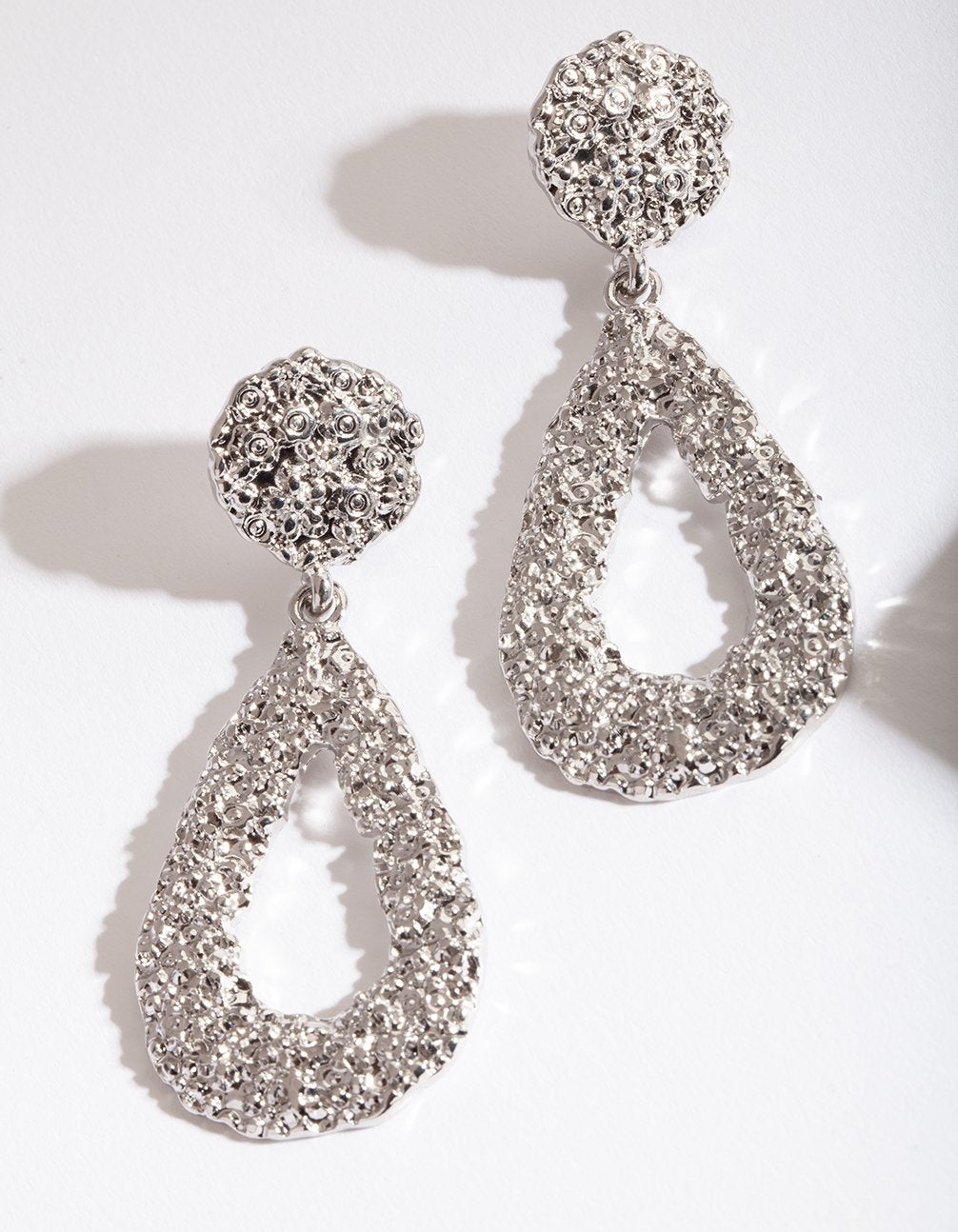 Silver Textured Teardrop Earring