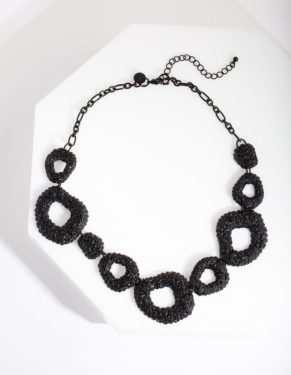 Black Textured Cut-Out Necklace