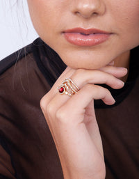 Gold Ruby Wave Ring Stack