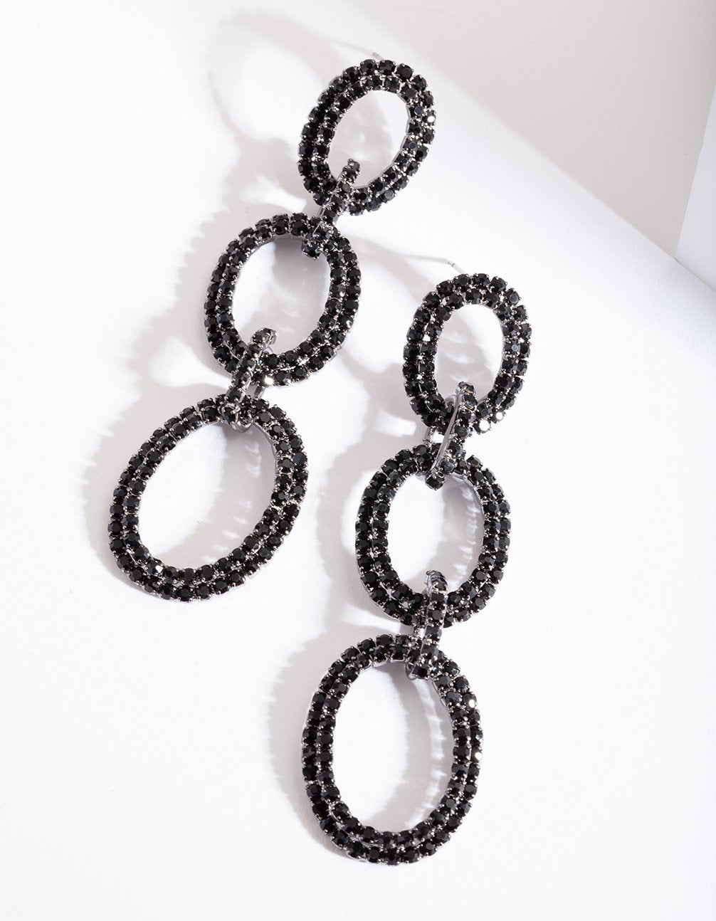 Gunmetal Black Diamante Link Earring