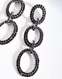 Gunmetal Black Diamante Link Earring - link has visual effect only