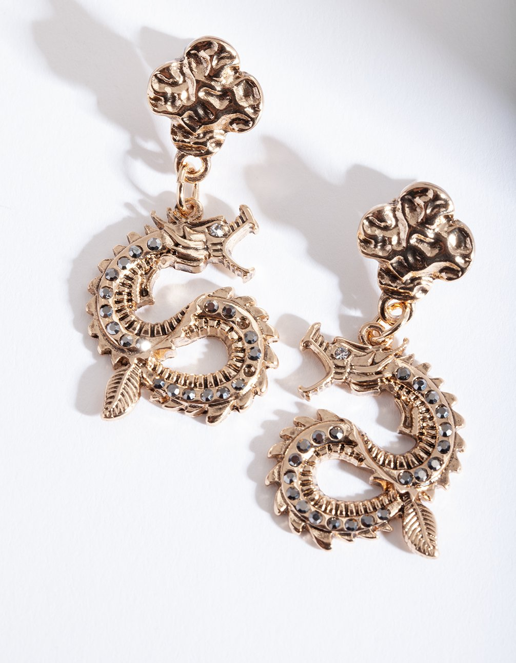 Antique Gold Swirl Dragon Earring