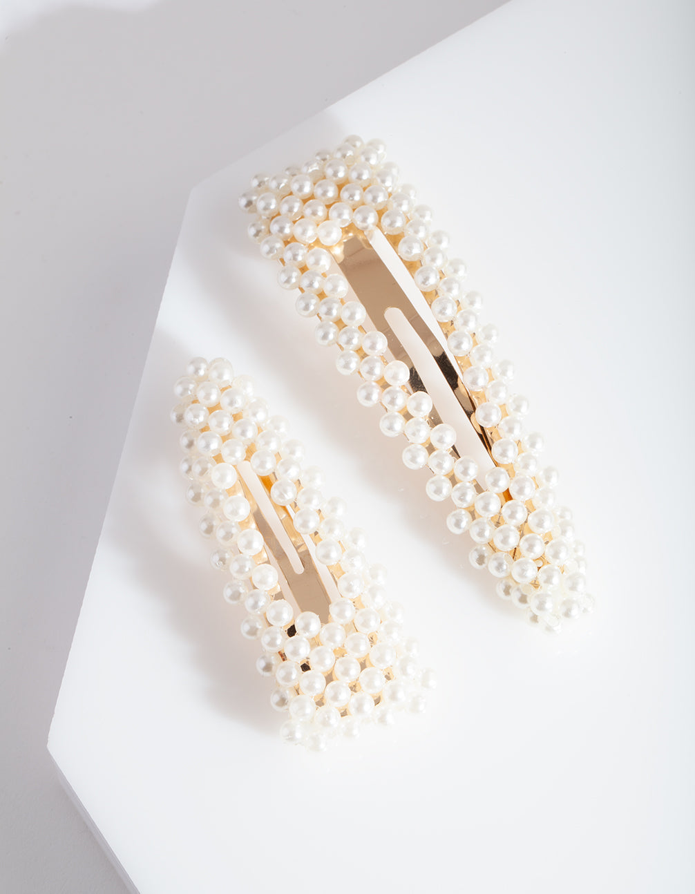 Gold Pearl Triangle Hair Clip Duo
