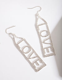 Silver Diamante Love Drop Earring - link has visual effect only
