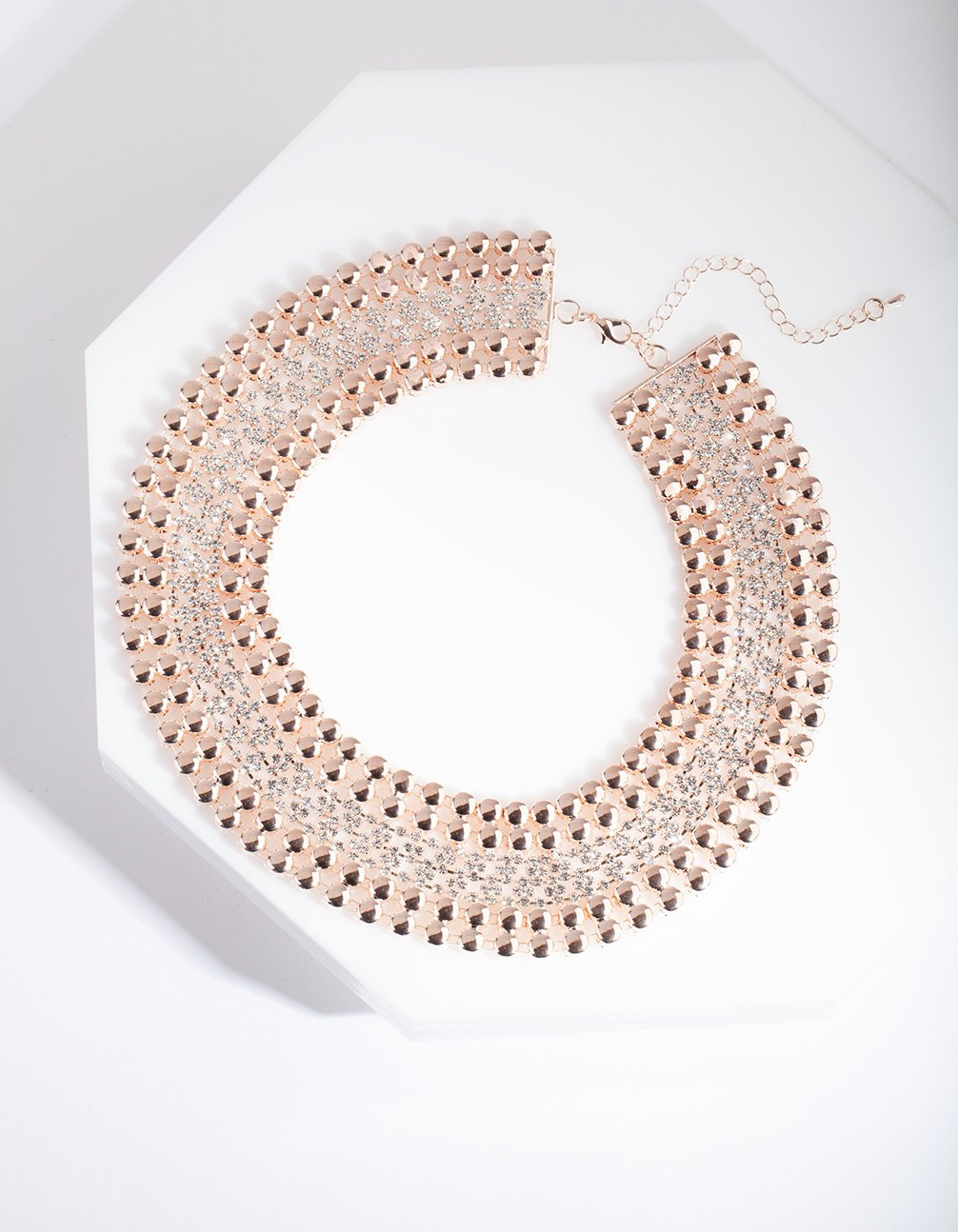 Rose Gold Chain Diamante Collar Necklace