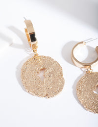 Gold Textured Disc Hoop Earring - link has visual effect only