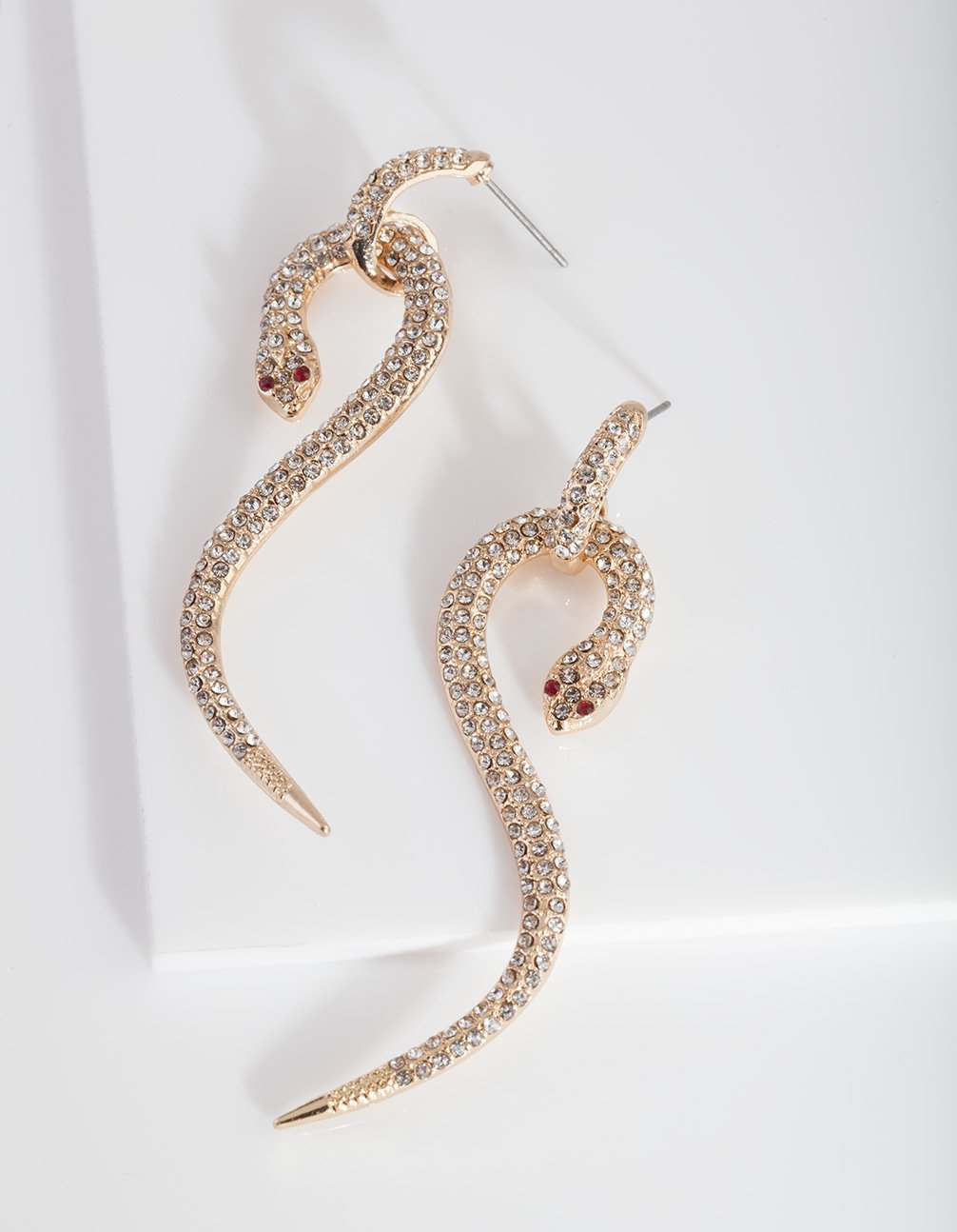 Gold Diamante Snake Earring