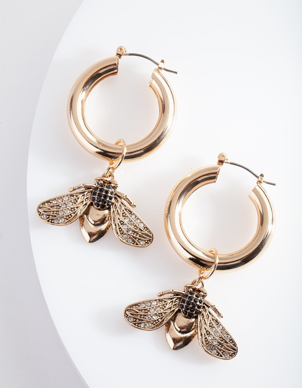 Gold Bee Charm Hoop Earring